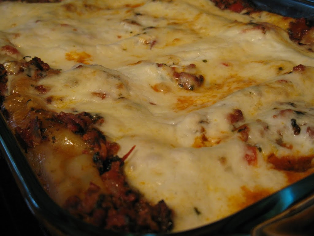 Baked Beef and Spinach Cannelloni