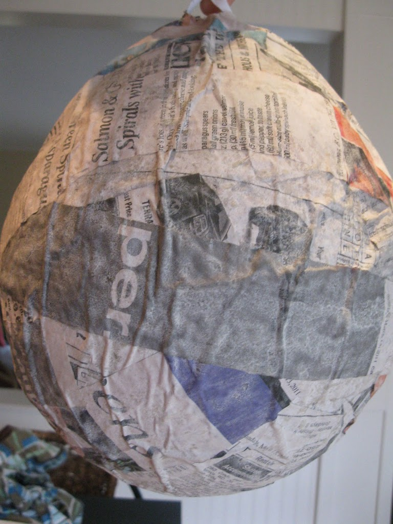 Paper mache easter pinata tutorial dragonfly designs for Paper mache structure