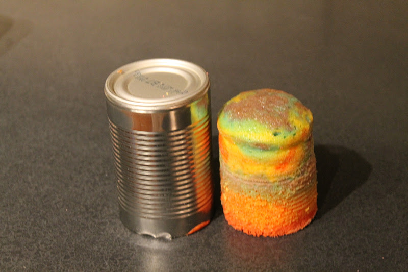 Rainbow Tie Dye Tin Can Cakes