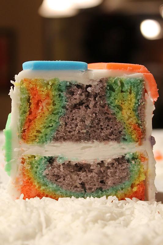 Rainbow Tie Dye Tin Can Cakes