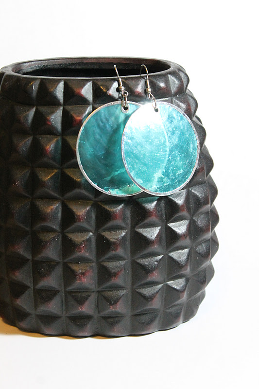 Upcycled Turquoise Shell Earrings