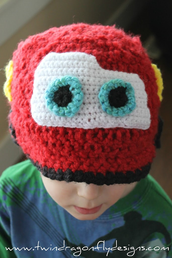 Crochet Lightening Mcqueen Hat Pattern Dragonfly Designs