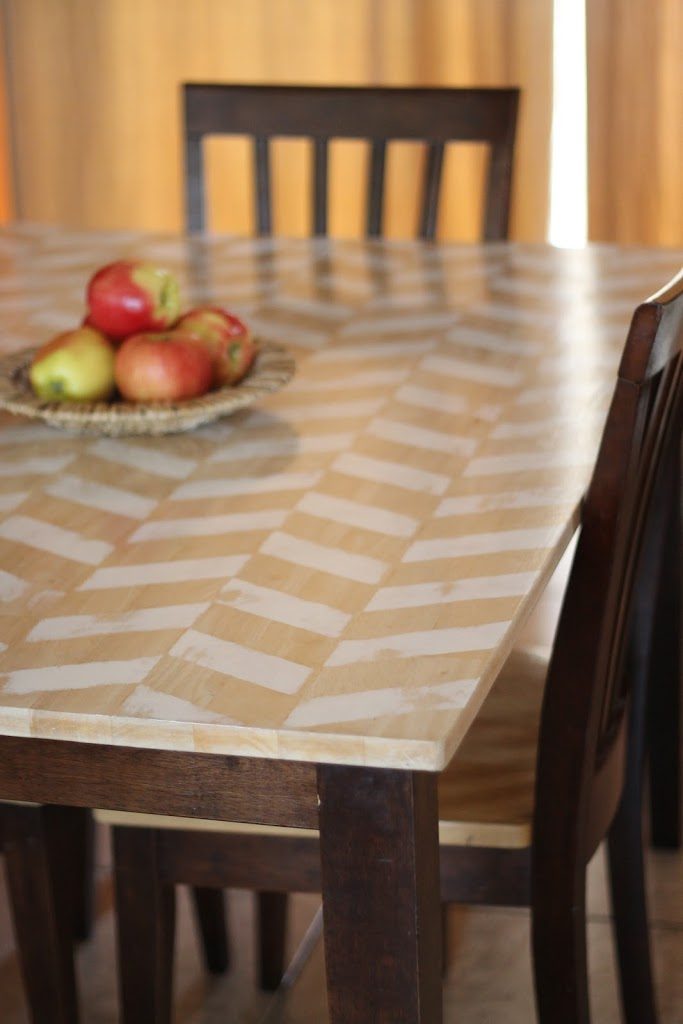 Herringbone Table Makeover