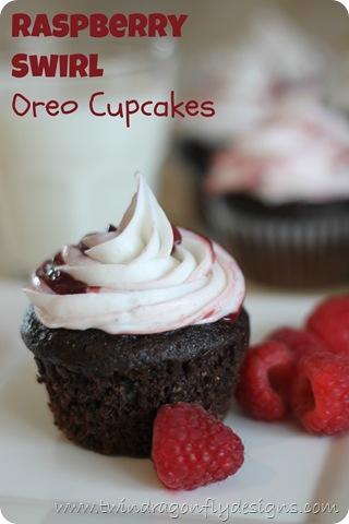 Raspberry Swirl Oreo Cupcakes