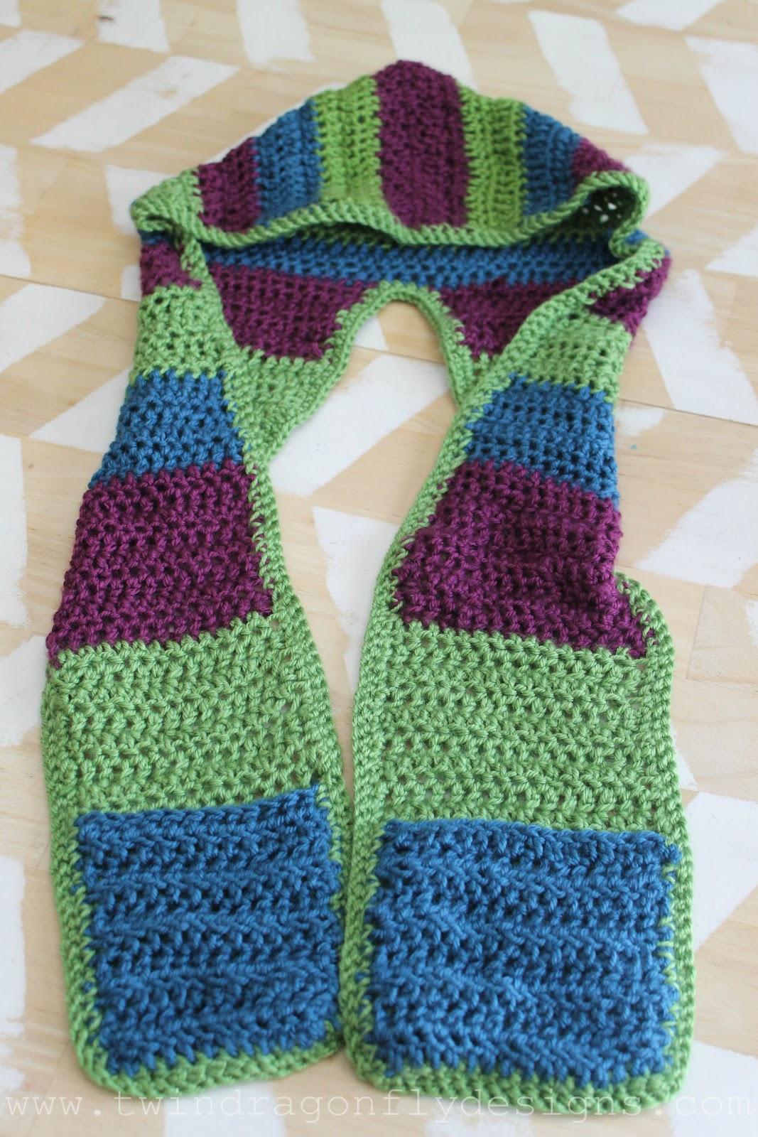 Crochet Hooded Scarf Pattern » Dragonfly Designs