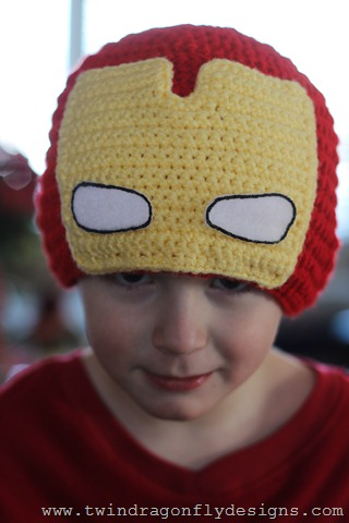 Free Crochet Pattern Iron Man Hat : Superhero Crochet Beanies Dragonfly Designs