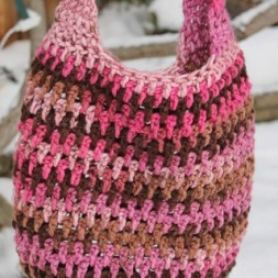 Pink and Brown Market Bag