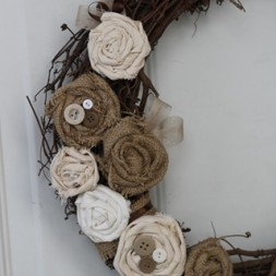 Rustic Burlap Rosette Wreath Tutorial
