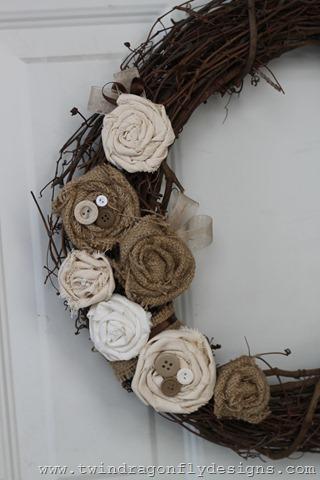 Rustic Burlap Rosette Wreath Tutorial
