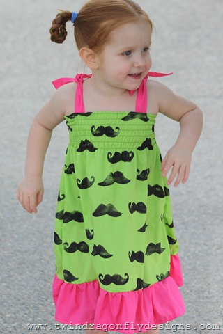 Lime Green Moustache Dress