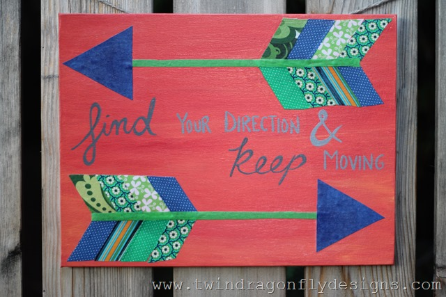 Fabric Arrow Canvas Quote