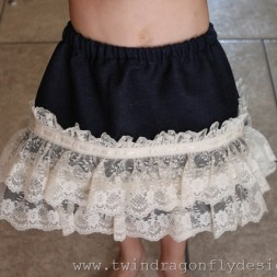 Simple Lace Denim Skirt