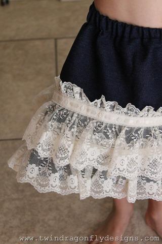 Simple Lace Denim Skirt