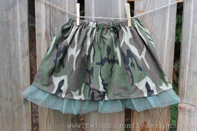 Pink Camoflauge Ruffle Skirt