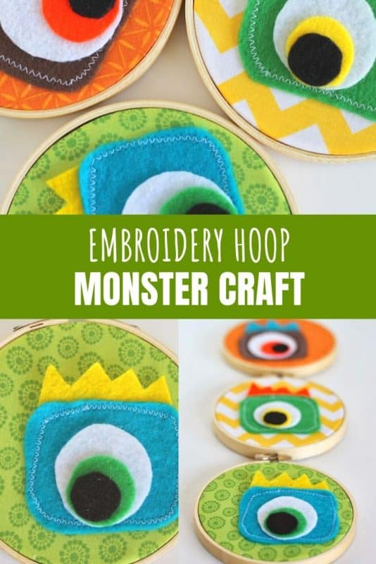 embroidery hoop monster craft