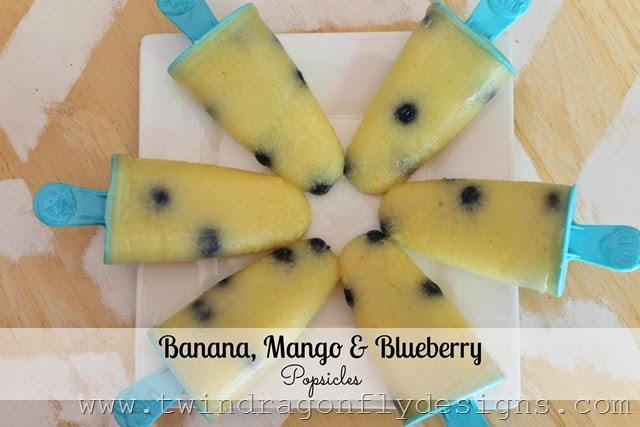 Banana, Mango and Blueberry Popsicles
