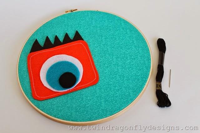 Monster Embroidery Hoop Art (1)