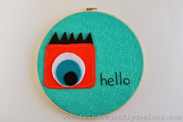 Monster Embroidery Hoop Art