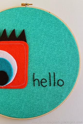 Monster Embroidery Hoop Art (15)