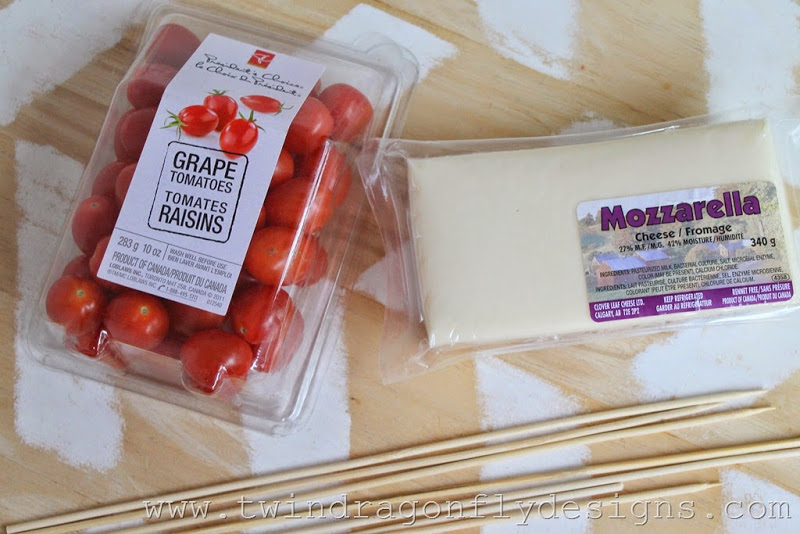 Grape Tomato and Mozzarella Skewers