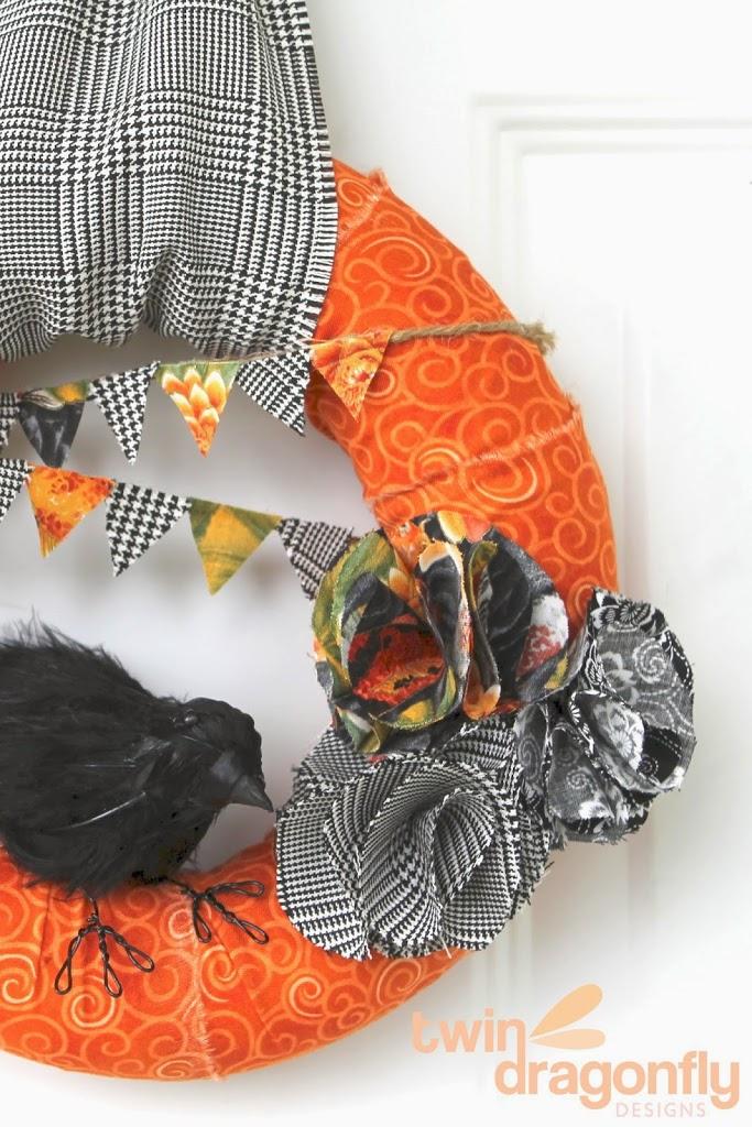 Scrap Fabric Fall Wreath