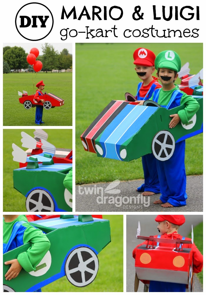 Along with our Mario and Luigi Go-Kart Costumes Iu0027m sharing 88+ more really awesome handmade costume ideas to jump start your DIY Halloween Spirit!  sc 1 st  Twin Dragonfly Designs & Mario and Luigi Go Kart Costumes Halloween Blog Hop » Dragonfly Designs