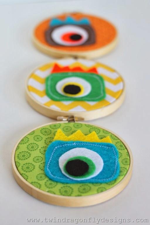 DIY Monster Embroidery Hoop Art