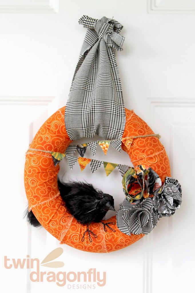 Scrap Fabric Fall Wreath