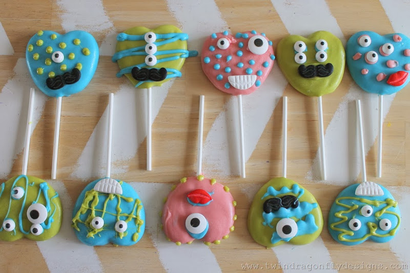 Valentine Monster Cookie Pops