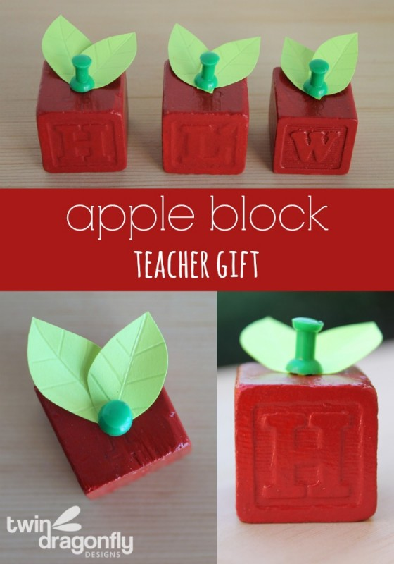 Apple Block Teacher Gift Tutorial