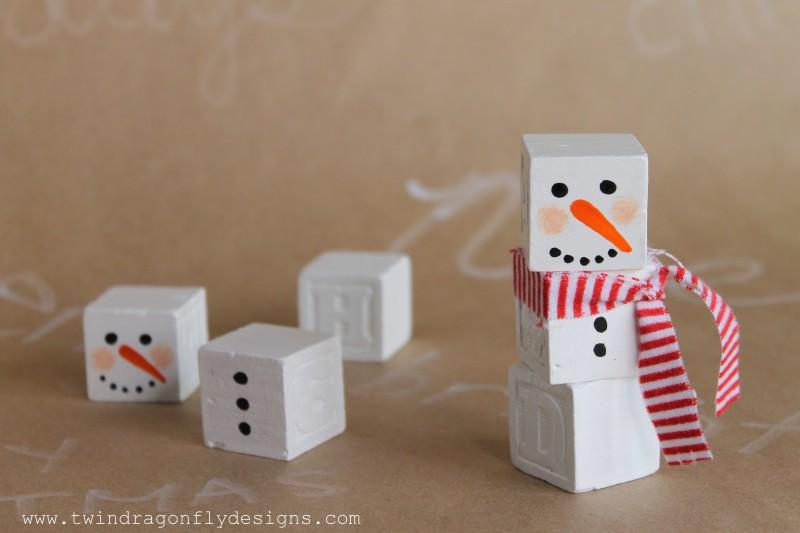Alphabet Block Snowman
