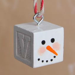 Snowman Block Ornament