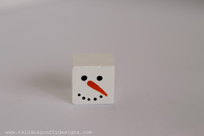 Alphabet Block Snowman Ornament