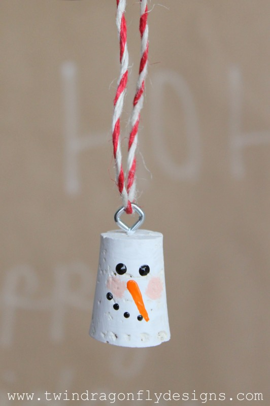 Cork Snowman Ornament