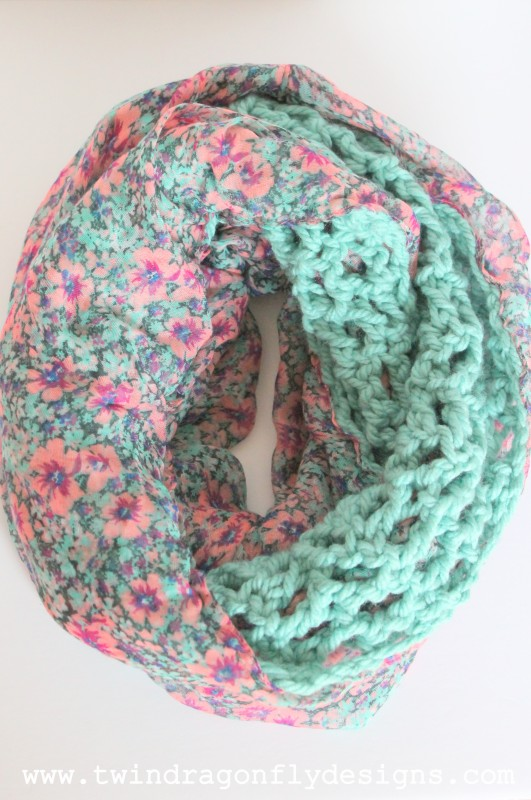 Teal Floral Crochet Chiffon Infinity Scarf