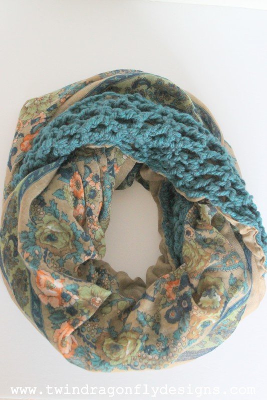 Turquois Floral Crochet Chiffon Infinity Scarf
