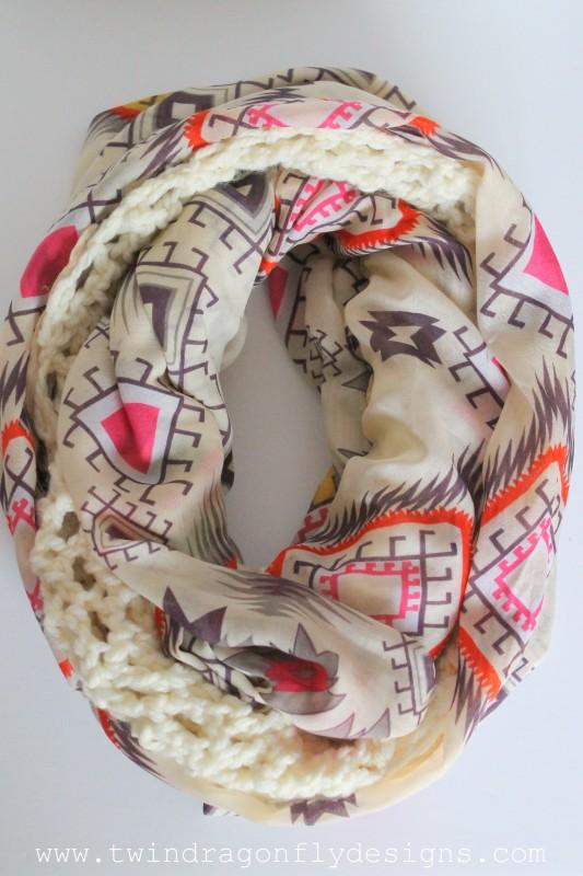 Cream Tribal Crochet Chiffon Infinity Scarf