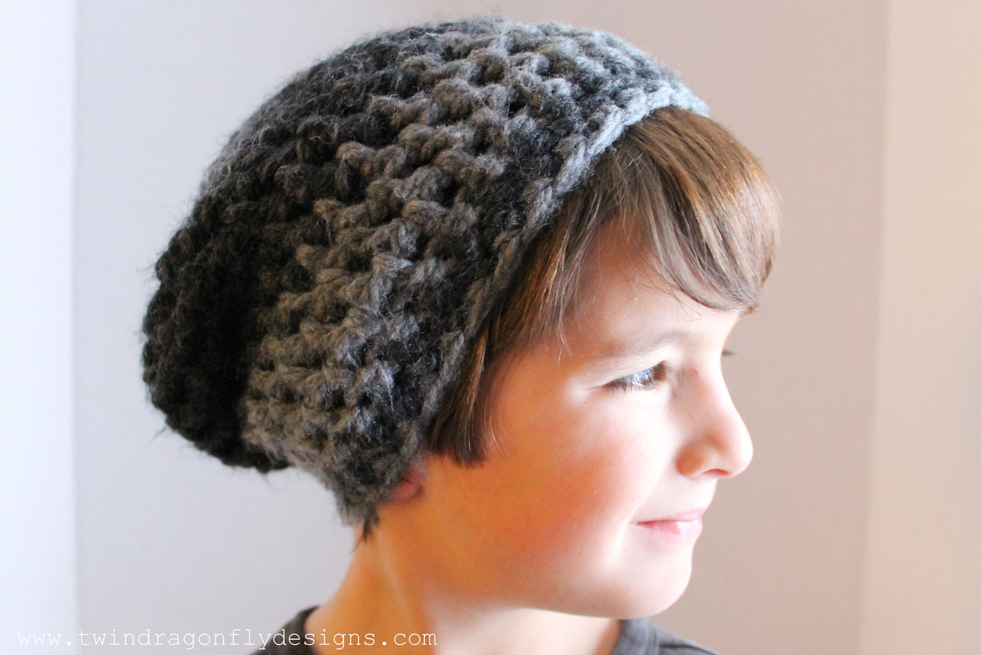 Childs Slouchie Beanie Crochet Pattern ? Dragonfly Designs