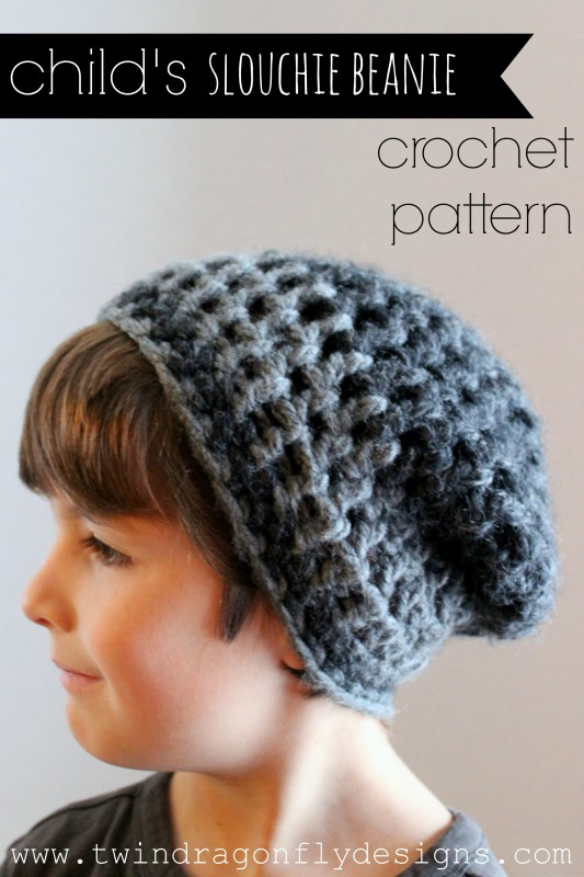 Crochet Slouchy Hat Pattern For Child : Childs Slouchie Beanie Crochet Pattern Dragonfly Designs