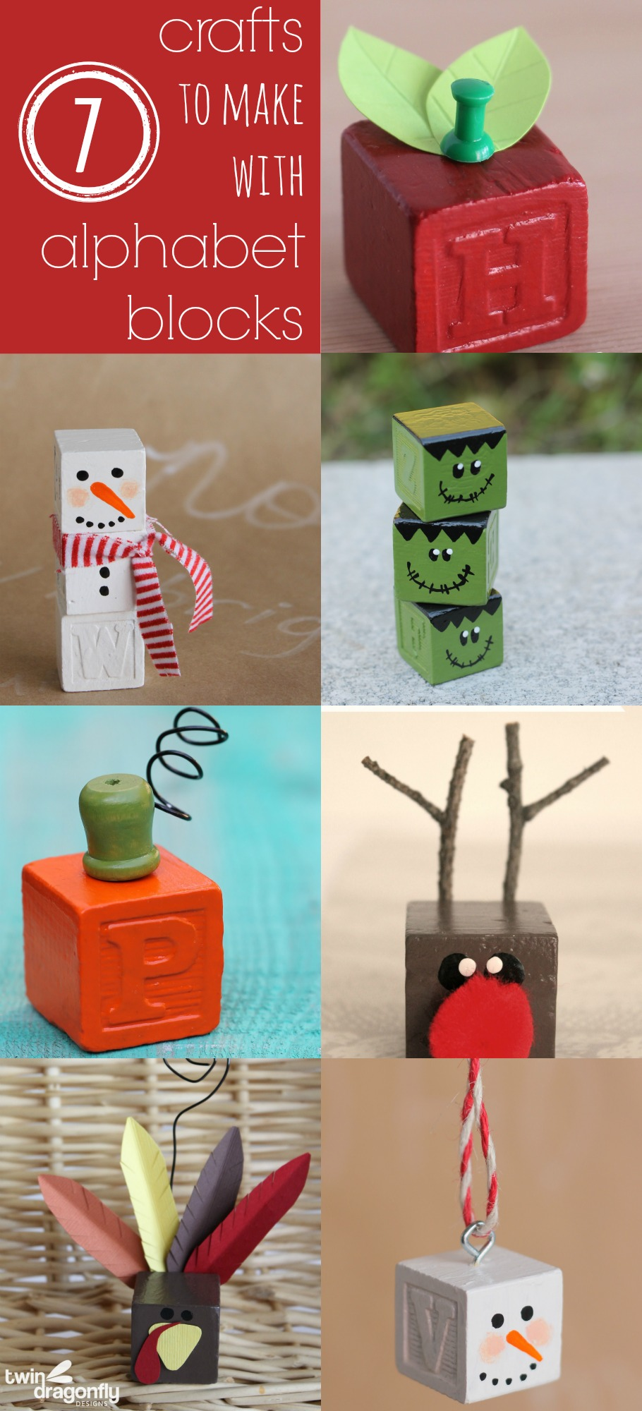 Seven Crafts to Make with Alphabet Blocks