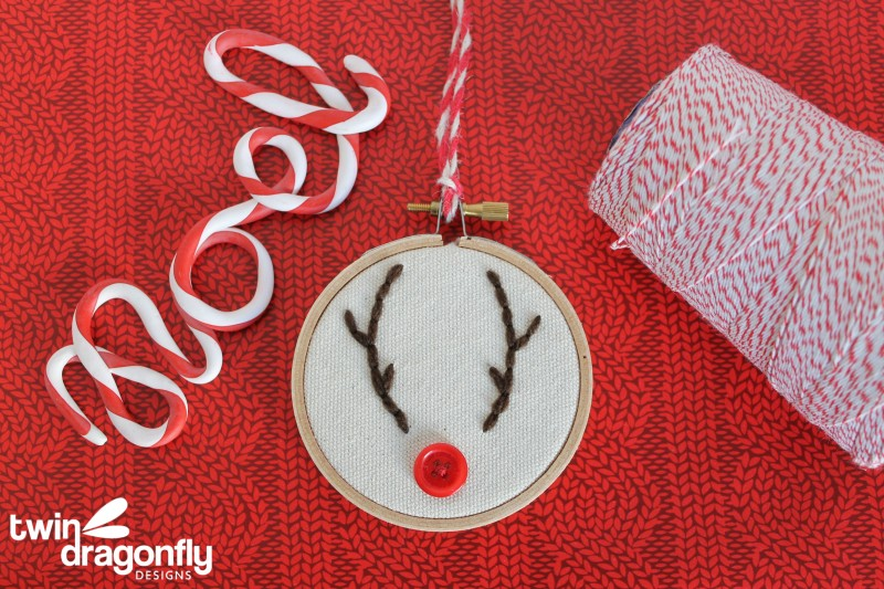 Embroidery Hoop Reindeer Ornament