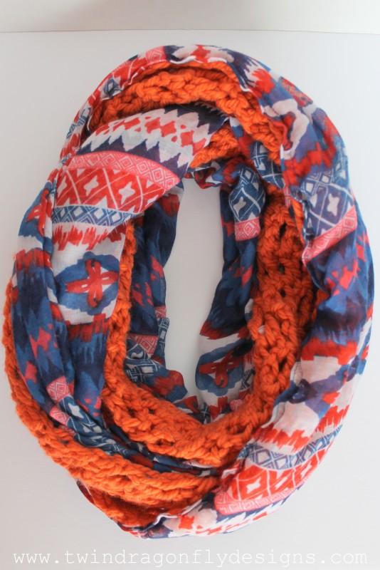 Orange Tribal Crochet Chiffon Infinity Scarf