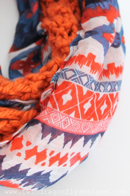 Tribal Crochet Chiffon Infinity Scarf