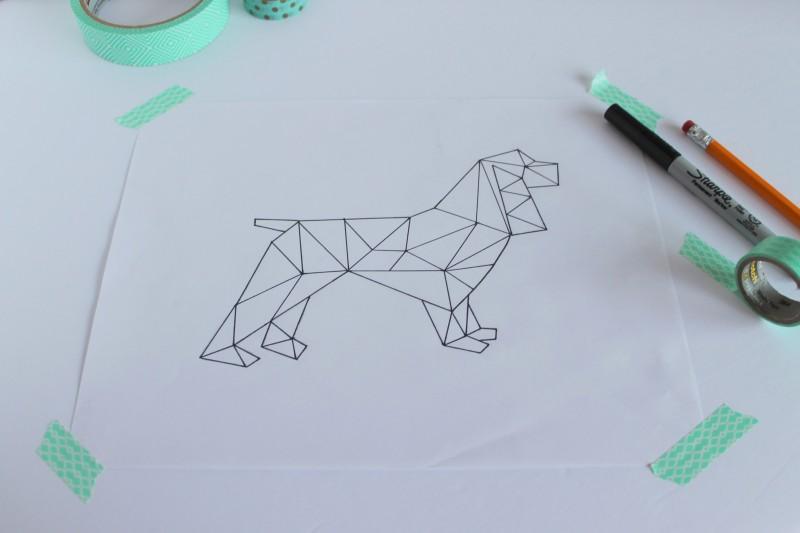Geometric Spaniel Art Printable-005