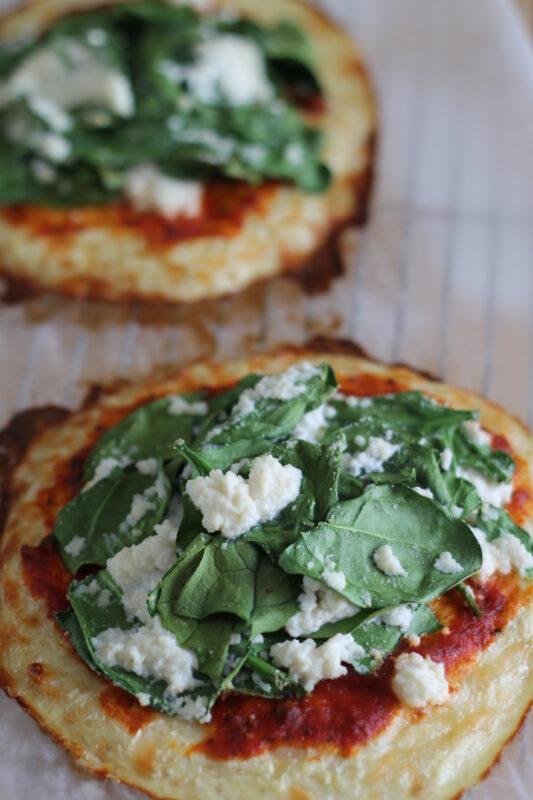 Spinach and Ricotta Cauliflower Crust Pizza