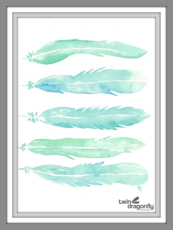 Watercolor Feathers Printable Art