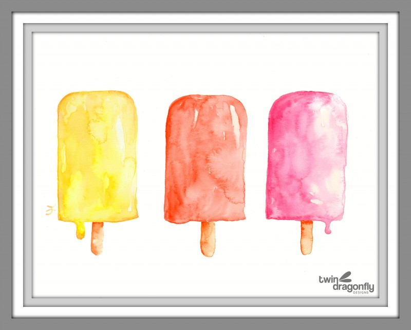 Watercolor Popsicle Printable Art