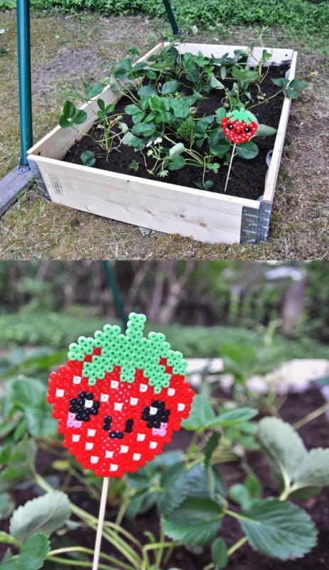 Perler Bead Strawberry Marker