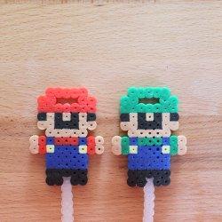 Mario and Luigi Perler Bead Bubble Wands