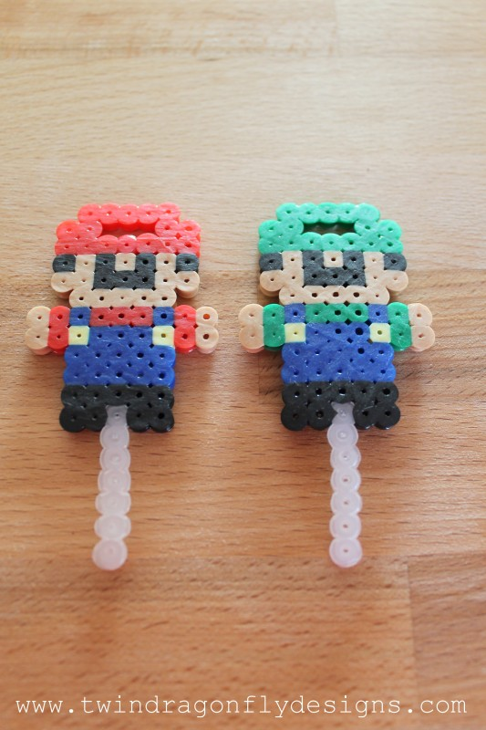 Mario & Luigi Perler Bead Bubble Wands